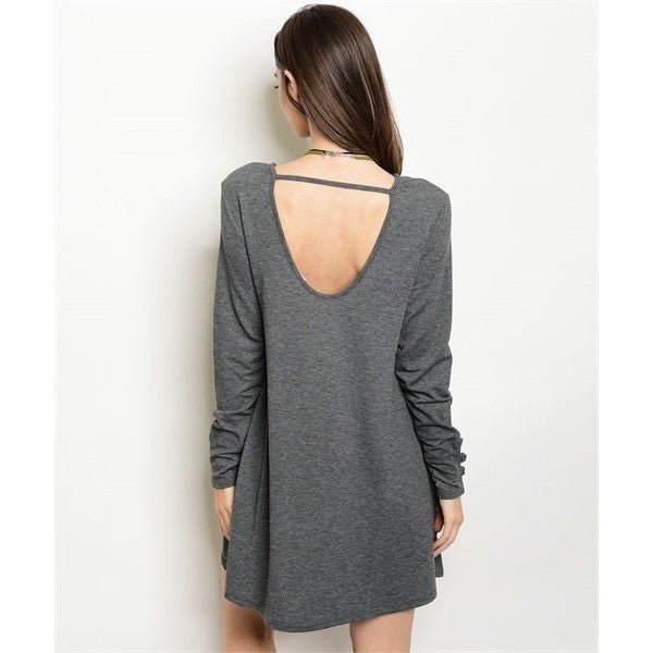 Grey Scoop Back Tunic Dress