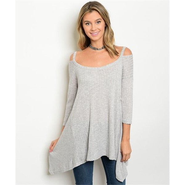 Grey Ribbed Cold Shoulder Tunic Top