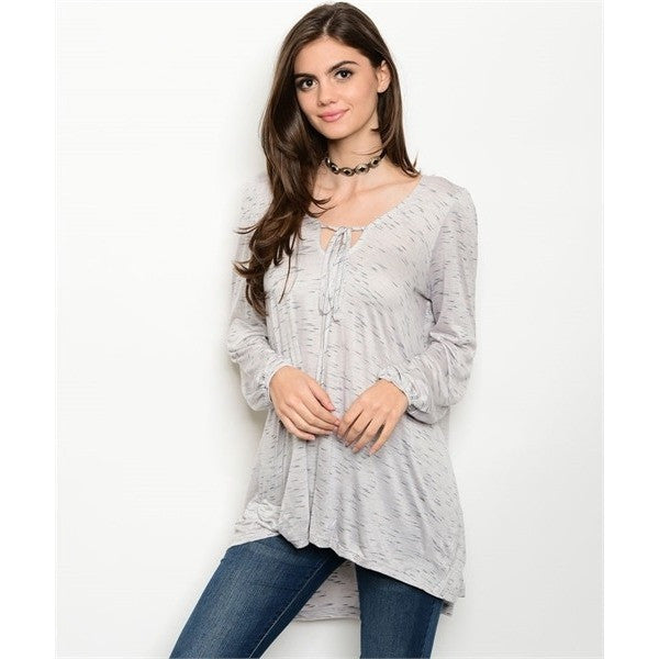 Grey Speckled Casual Tunic Top