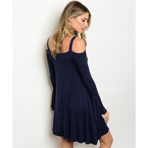 Navy Cold Shoulder Bell Sleeves Dress