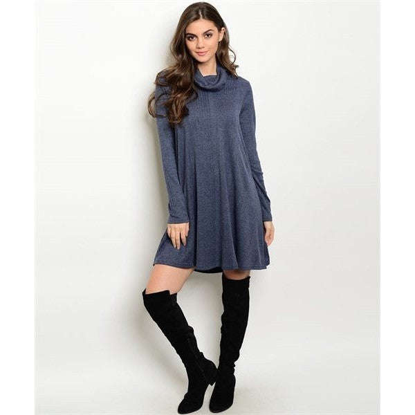 Navy Turtleneck Dress