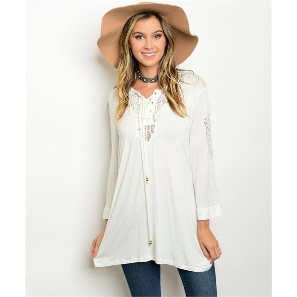 Off White Casual Tunic Top