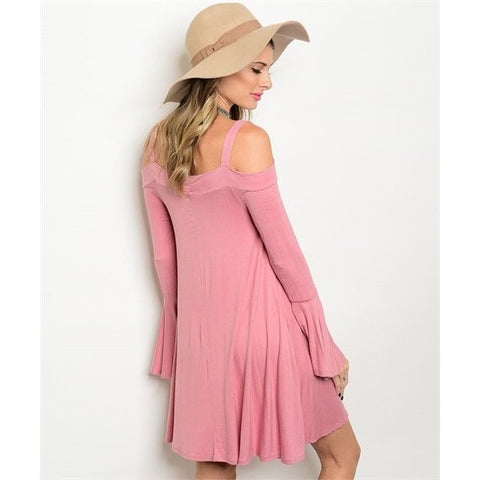 Pink Cold Shoulder Bell Sleeves Dress