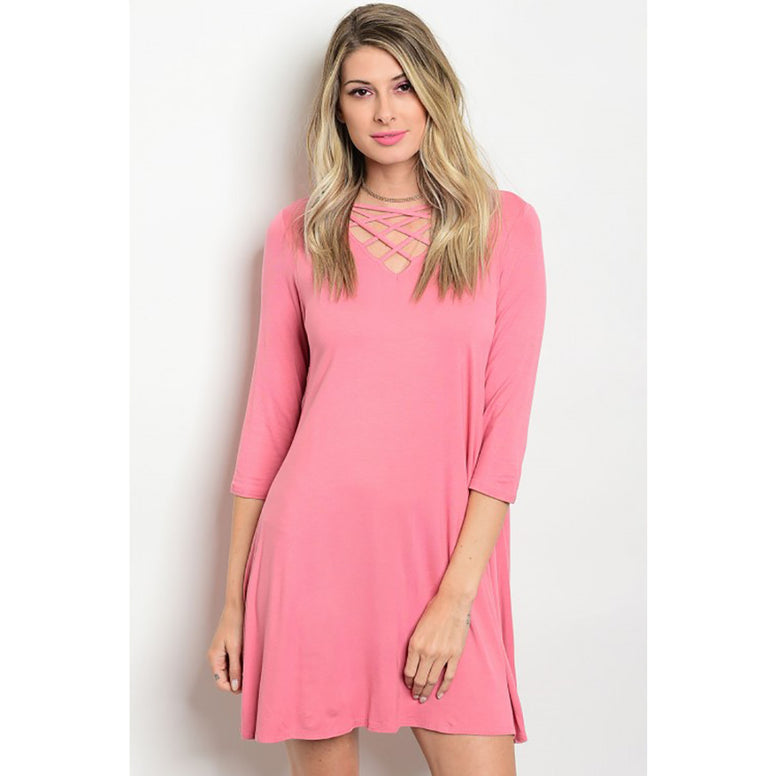 Dusty Rose Lace Up Boutique Dress