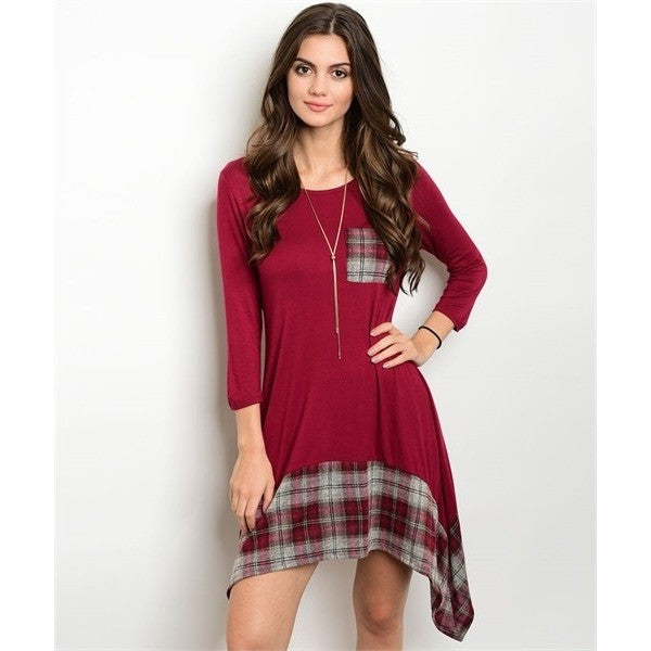 Wine Plaid Dress