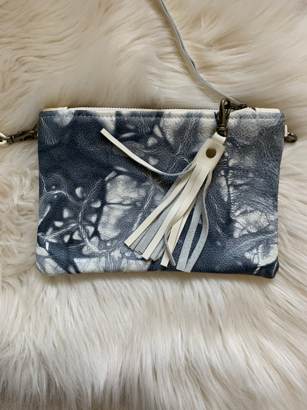 Black and cream tie-dye Beth Ann with cream leather