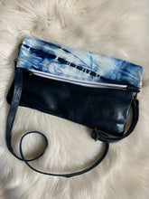 Blue and white tie-dye Maggie with navy leather