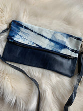 Navy and white tie-dye Maggie with navy leather