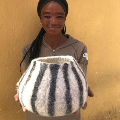 klaylife Hand Felted Striped Vessel