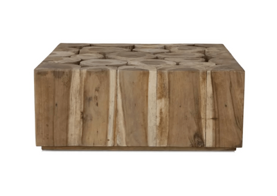 Weylandts Munggur Log Coffee Table (with glass top)