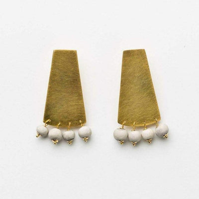 Ada - Long Shield Earrings