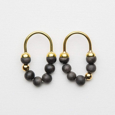 Zola - Short Earrings - Charcoal / Gold