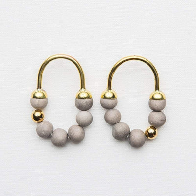 Zola - Short Earrings - Grey / Gold