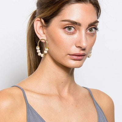 Zola - Short Earrings - Stone / Gold