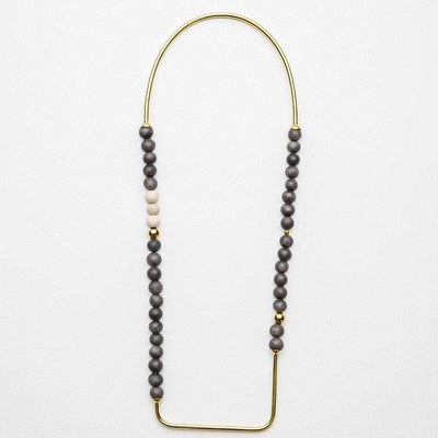 Nozi - Short Necklace - Charcoal / Gold