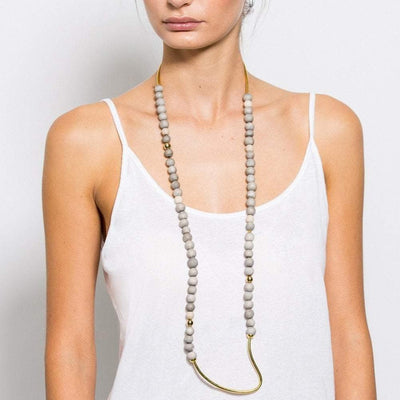 Tahndi - Long Necklace - Grey / Gold