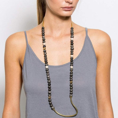 Tahndi - Long Necklace - Charcoal / Gold