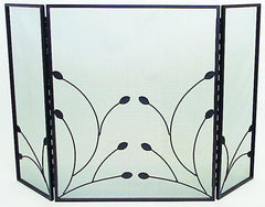 FireUp Three Fold Fire Screen with Leaf Design
