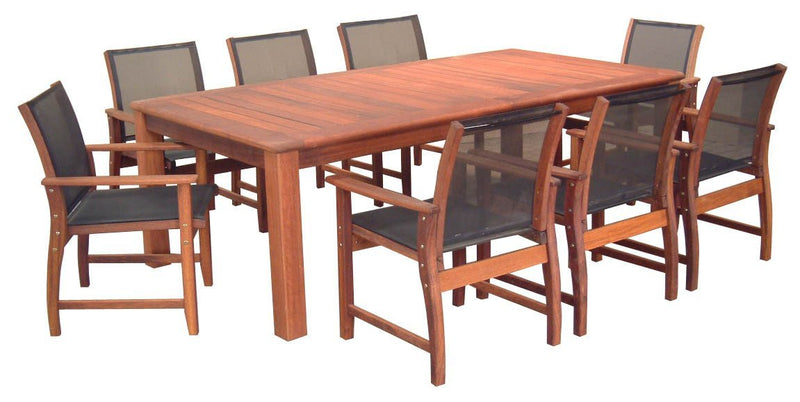 Kwila 9 Piece Prestige Dining Setting with Textilene Chairs, Furniture, Swifts