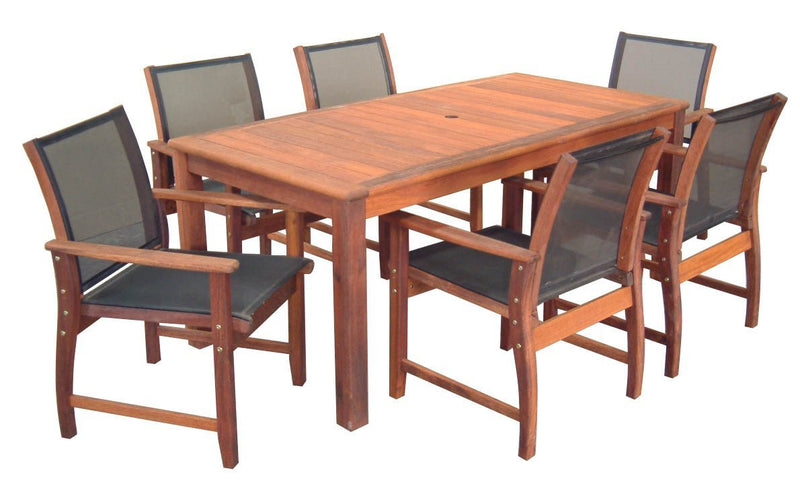 Kwila 7 Piece Prestige Dining Setting with Textilene Chairs, Furniture, Swifts