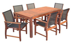 Kwila 7 Piece Prestige Dining Setting with Textilene Chairs - Joe's BBQs