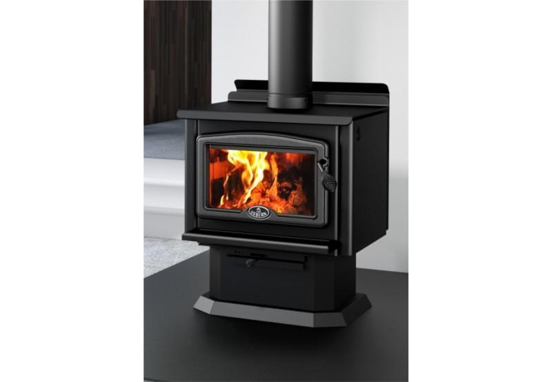 Osburn 1000 Freestanding Woodheater (Pedestal and Black Overlay) - Joe's BBQs