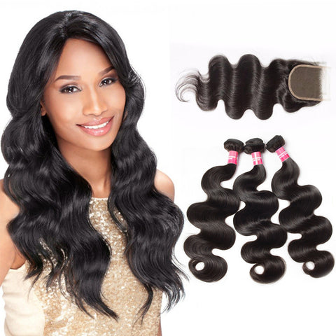 brazilian 4x4 lace closure with 3 bundles body wave