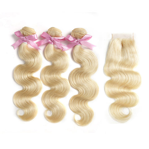 613 brazilian blonde virgin hair 3 bundles body wave with 4x4 swiss lace closure
