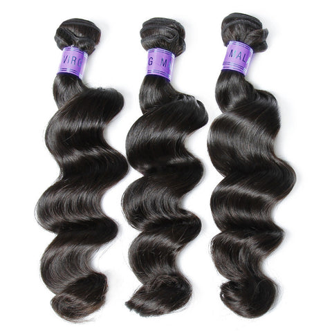 3pcs top quality unprocessed brazilian loose wave 1b natural black