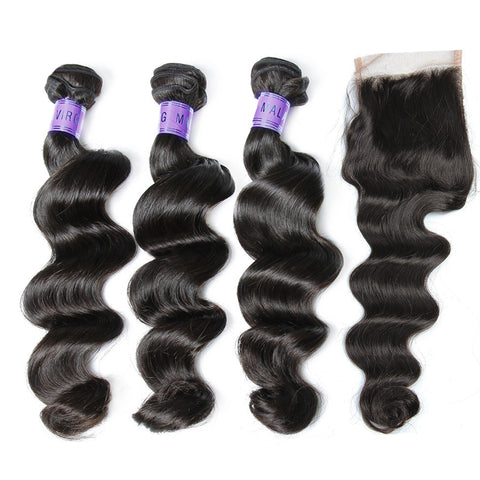 brazilian 4x4 lace closure with 3 bundles loose wave