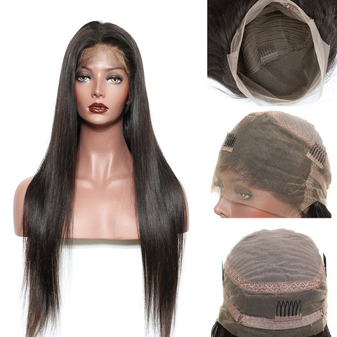 Preplucked Brazilian 360 Lace Frontal Wigs For Black Women Straight Hair