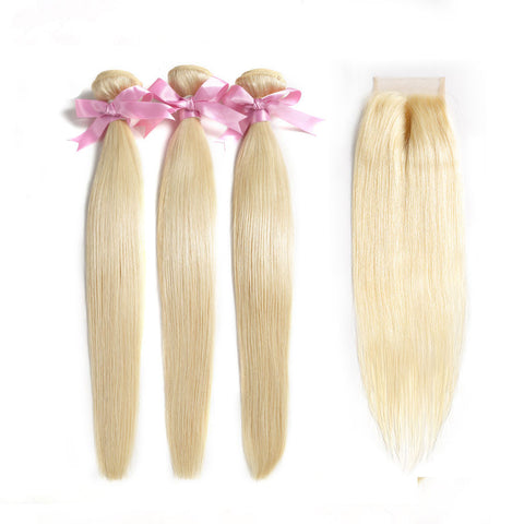 613 brazilian blonde straight virgin hair 3 bundles with 4x4 swiss lace closure
