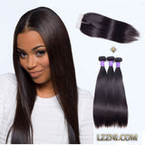 brazilian 4x4 lace closure with 3 bundles straight hair