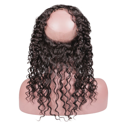 Brazilian 360 Full Lace Preplucked Frontal With 3 Bundles Deep Wave