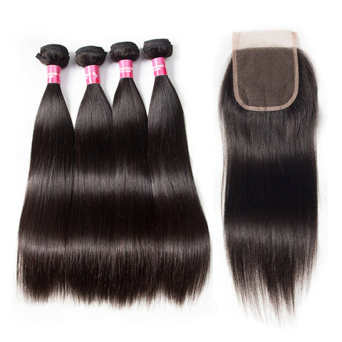 peruvian lace closure 4x4 with 4 bundles straight human hair