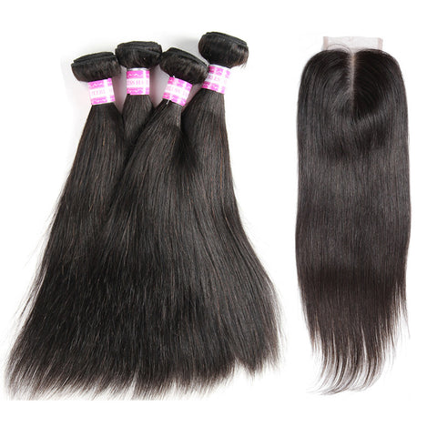 indian lace closure 4x4 with 4 bundles straight human hair