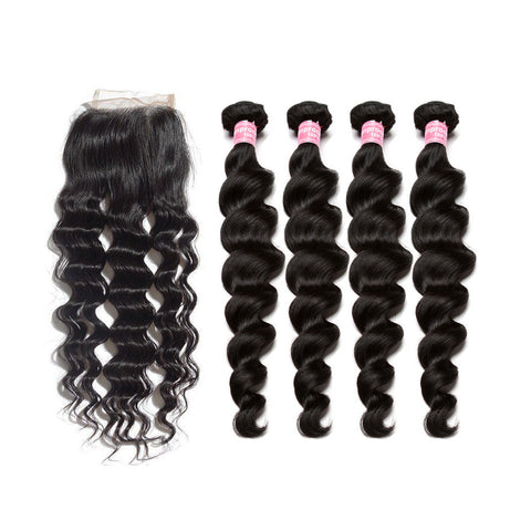 indian lace closure 4x4 with 4 bundles loose wave human hair