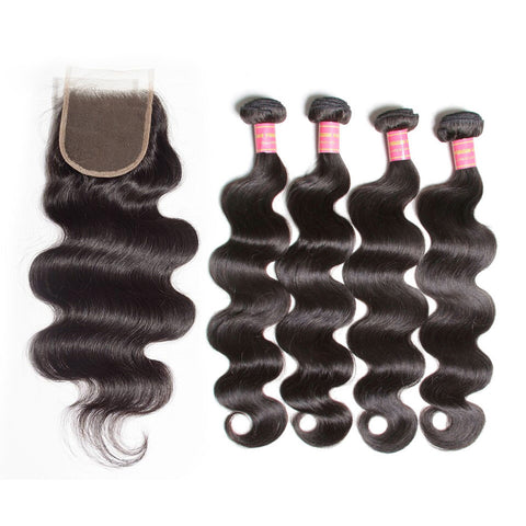 indian lace closure 4x4 with 4 bundles body wave human hair