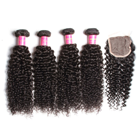 indian lace closure 4x4 with 4 bundles kinky curly human hair