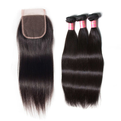 indian 4x4 lace closure with 3 bundles straight hair