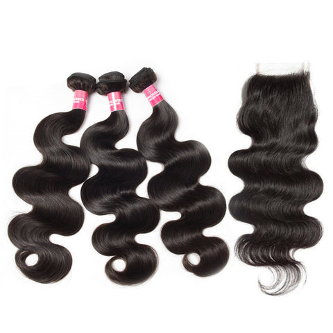 indian 4x4 lace closure with 3 bundles body wave