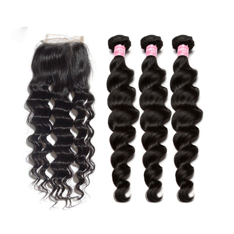 indian 4x4 lace closure with 3 bundles loose wave