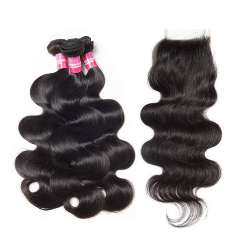 malaysian 4x4 lace closure with 3 bundles body wave