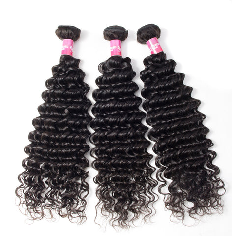 3pcs brazilian deep wave human hair no shedding no tangle