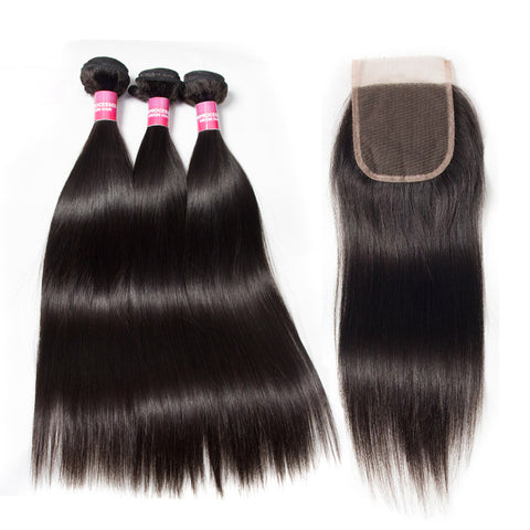 peruvian 4x4 lace closure with 3 bundles straight hair bundles