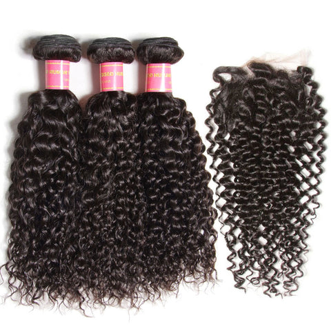 peruvian 4x4 lace closure with 3 bundles hair bundles kinky curly
