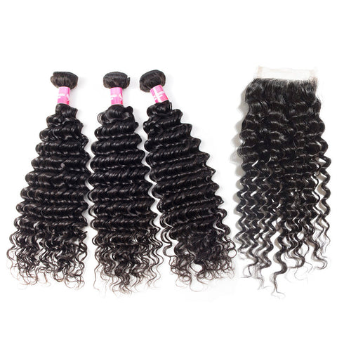 indian 4x4 lace closure with 3 bundles deep wave