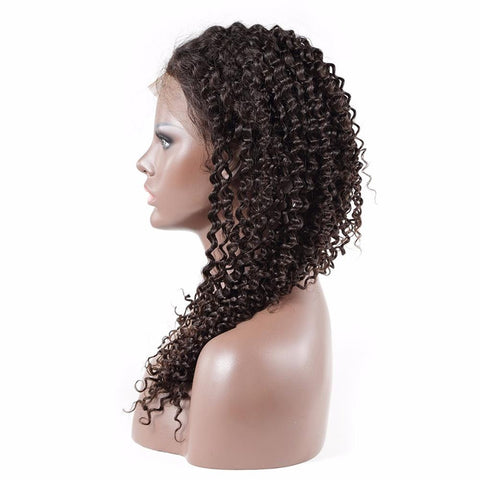Glueless Full Lace Human Hair Kinky Curly Wigs Natural Color Brazilian Remy Hair Wigs