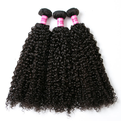 3pcs kinky curly natural black peruvian virgin hair weaves