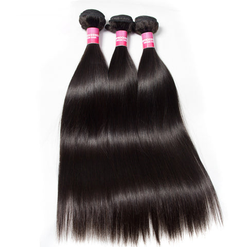 3pcs indian human hair silk straight virgin hair extensions